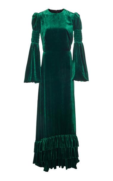 The Vampire's Wife Shirred Ruffled Velvet Maxi Dress in green