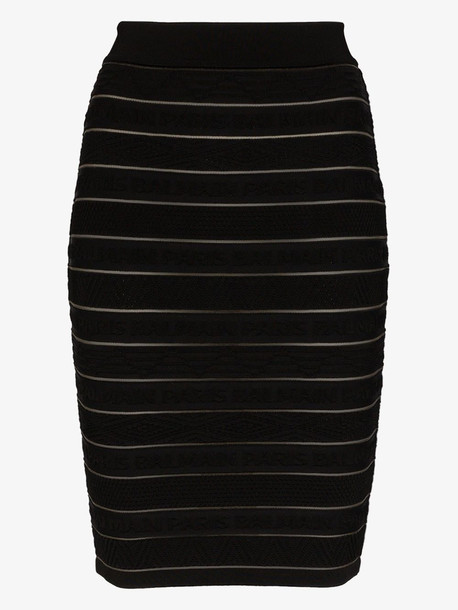 Balmain logo stripe knit skirt in black