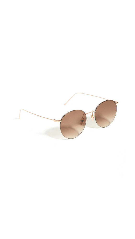 Linda Farrow Luxe Linda Farrow Foster Round Sunglasses in brown / gold / rose