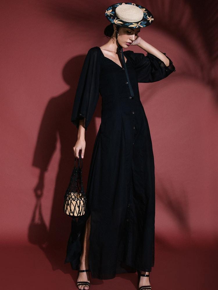 SENSI STUDIO Mini Straw & Cord Handbag in black