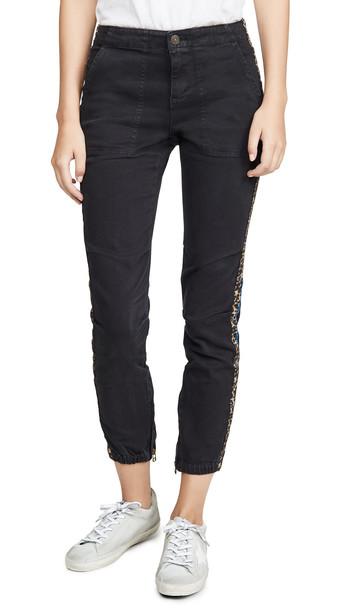 Pam & Gela Cargo Elastic Hem Pants with Side Stripes in black