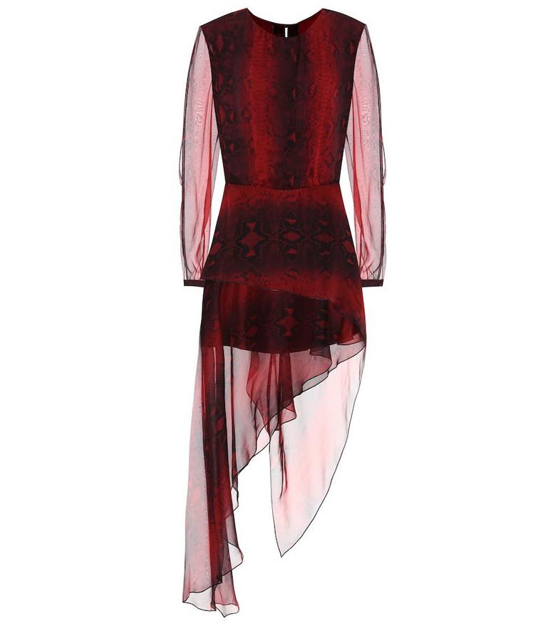 Amiri Printed silk midi dress in red