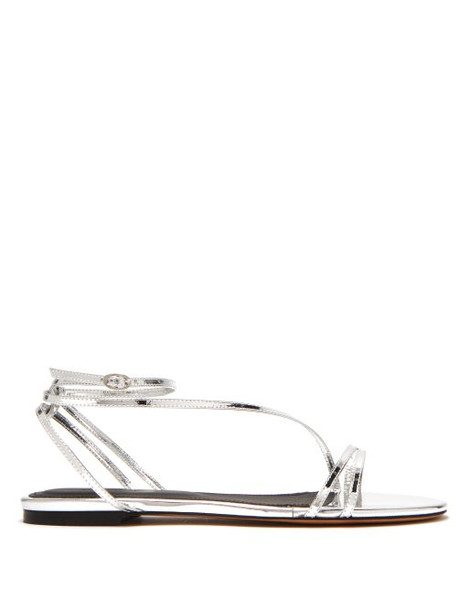 Isabel Marant - Aldis Mirrored Leather Flat Sandals - Womens - Silver