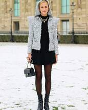 bag,chanel bag,black bag,tights,calzedonia,black boots,black skirt,black shirt,grey jacket