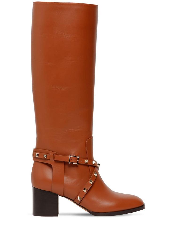 VALENTINO 60mm Rockstud Tall Leather Boots in tan