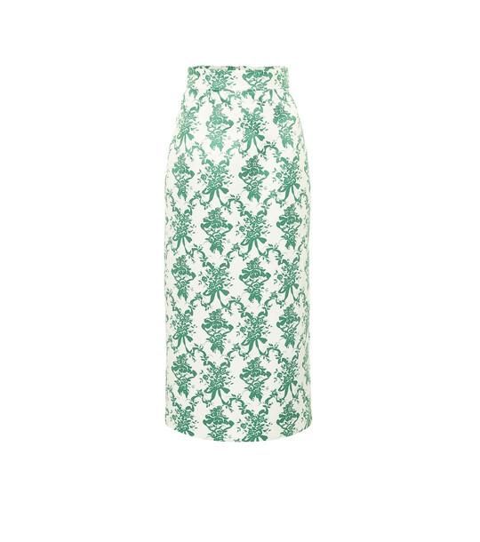 Emilia Wickstead Lorinda floral taffeta midi skirt in green
