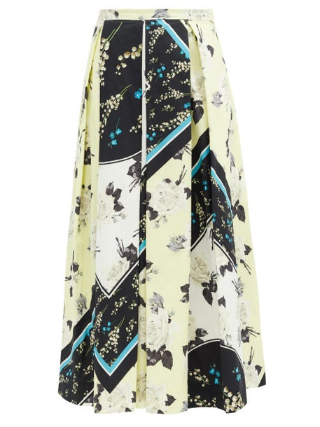 Erdem - Elena Rosemont Willow-print Cotton Skirt - Womens - Yellow Print