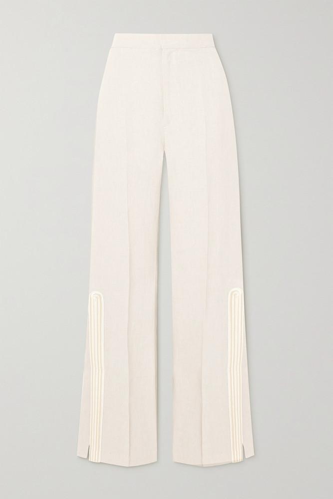 ZEUS + DIONE ZEUS + DIONE - Petra Embroidered Satin-trimmed Grain De Poudre Flared Pants - Cream