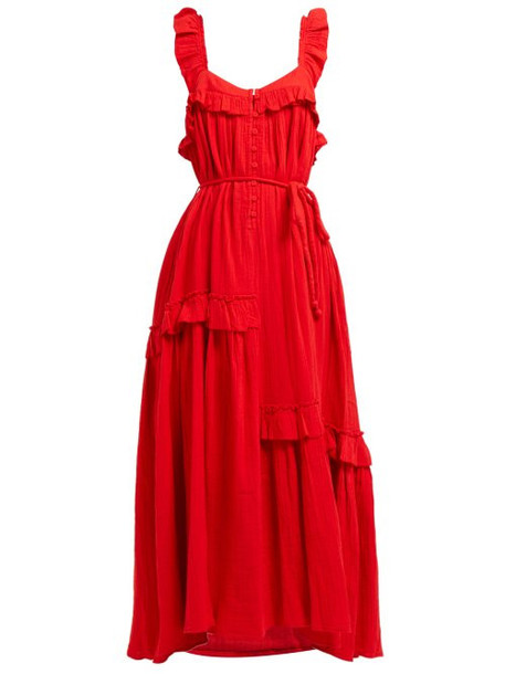 Apiece Apart - Lypie Ruffled Cotton Maxi Dress - Womens - Red