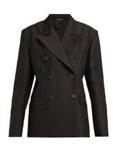 blazer,double breasted,black,silk,wool,jacket