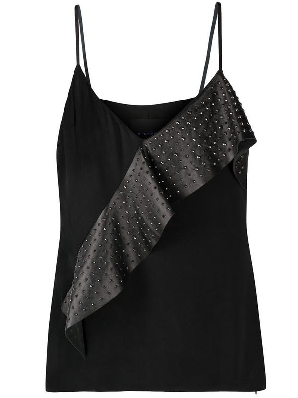 John Richmond asymmetric ruffle vest in black
