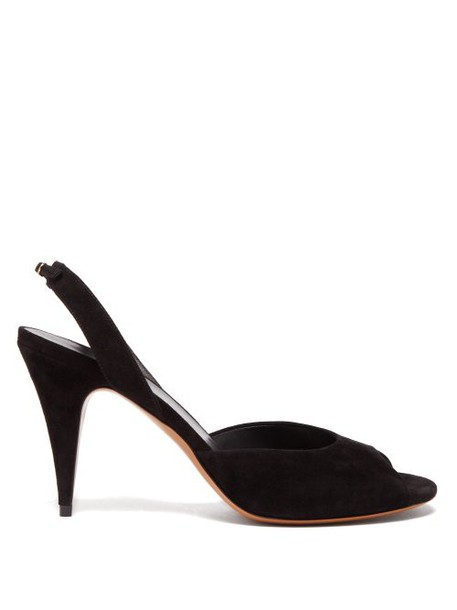 The Row - Swing Suede Slingback Sandals - Womens - Black