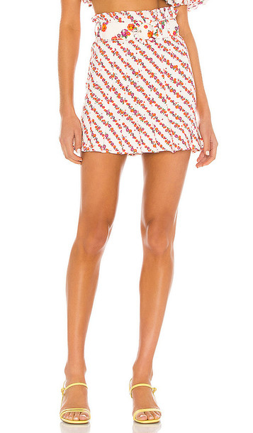 For Love & Lemons Georgia Mini Skirt in Orange