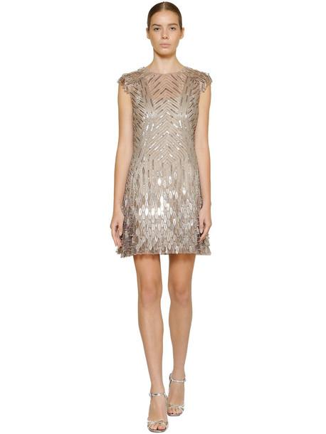 ALBERTA FERRETTI Embellished Techno Mini Dress in silver