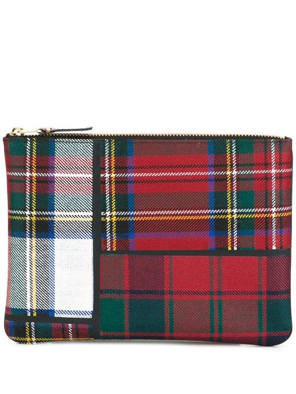 Comme Des Garçons Wallet tartan patchwork clutch in red