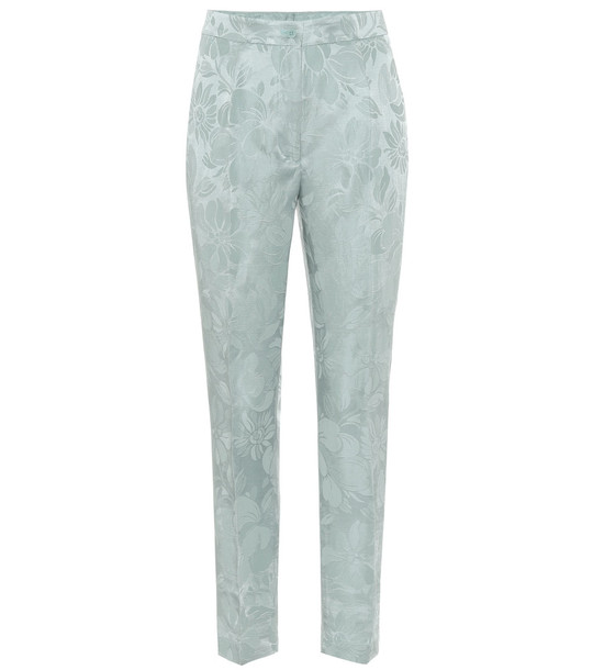 Etro High-rise skinny jacquard pants in blue