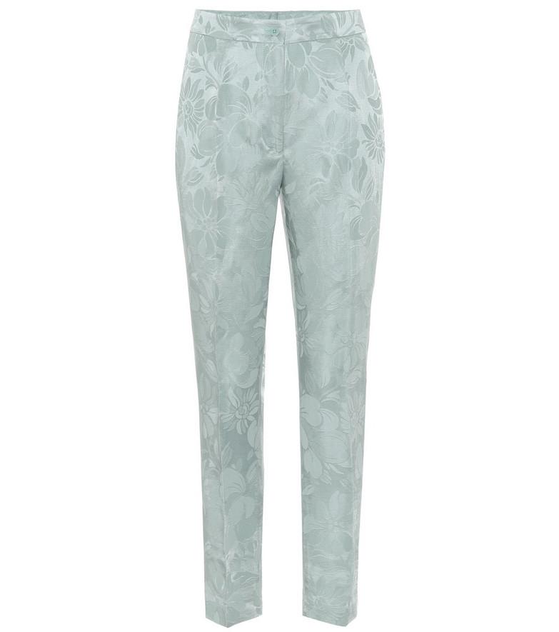 Etro High-rise skinny jacquard pants in blue