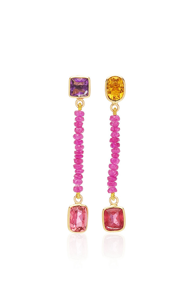 Objet-a Blue Hour 18K Gold And Multi-Stone Earrings in red