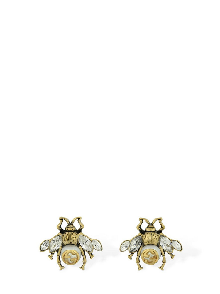 GUCCI Bee Motif Stud Earrings in gold