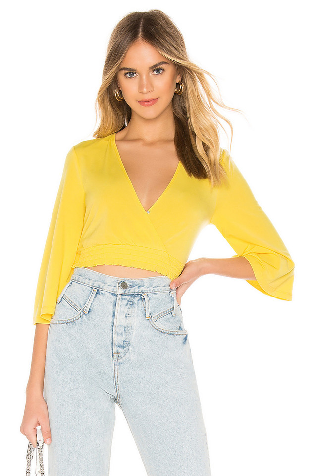 BCBGeneration Surplice Top in yellow