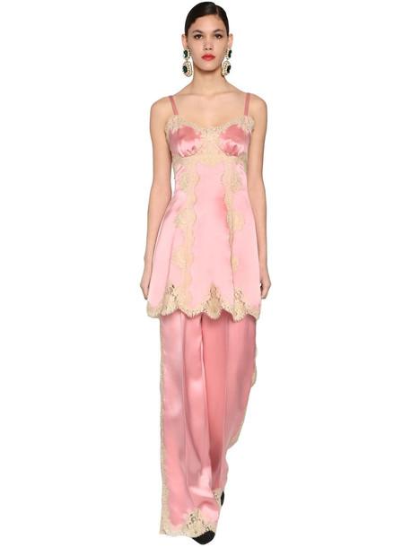 DOLCE & GABBANA Silk Satin & Lace Mini Dress in pink