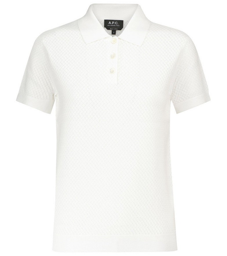 A.P.C. Maria knit polo top in white