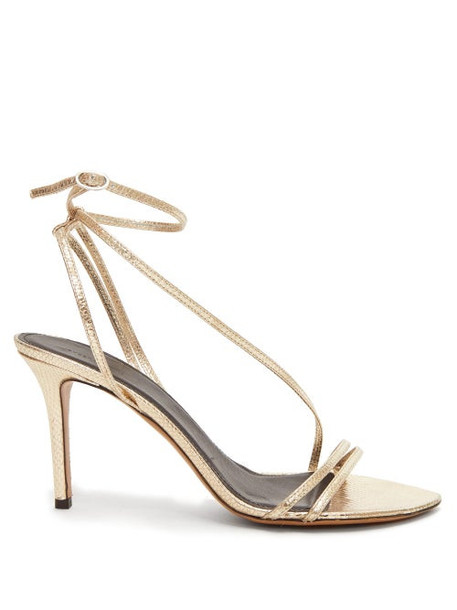 Isabel Marant - Axee Snake-effect Metallic-leather Sandals - Womens - Gold