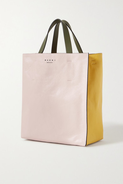 Marni - Museo Small Color-block Crinkled-leather Tote - Pastel pink