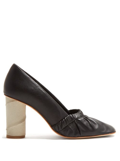 Loewe - Ruched Leather Pumps - Womens - Black
