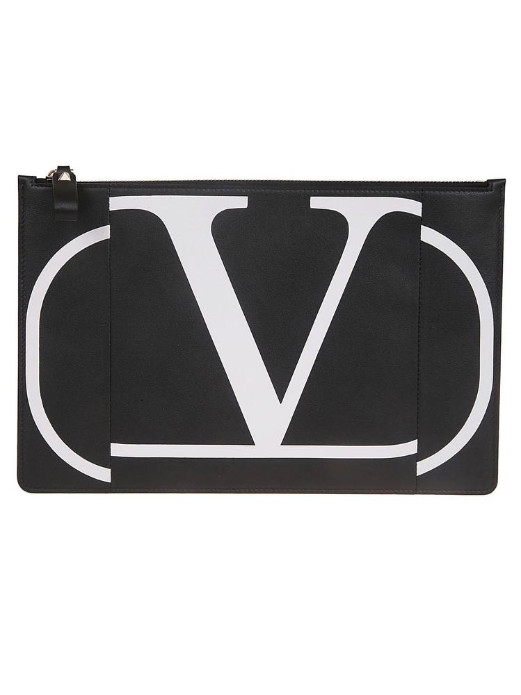 Valentino Garavani Large Flat Clutch in nero / bianco