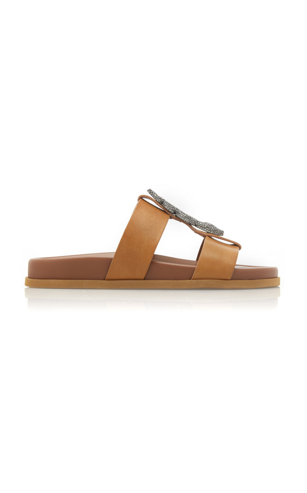 Valentino Snake-Buckle Leather Sandals in brown