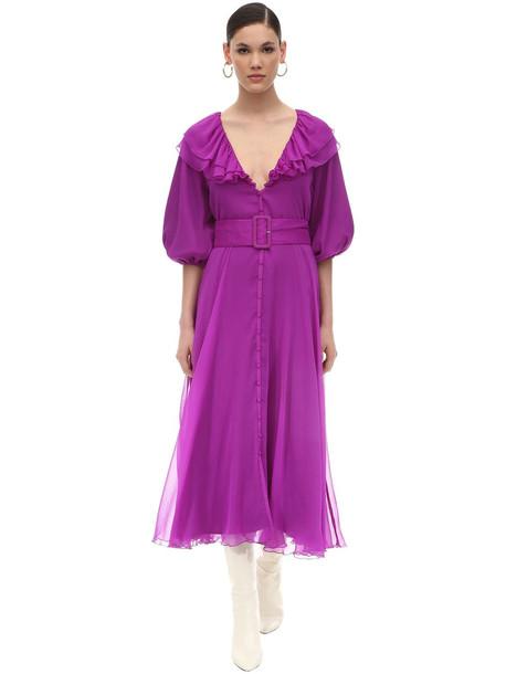 ROTATE Chiffon Midi Dress in purple
