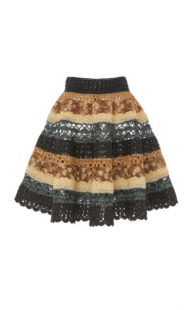 Dolce & Gabbana Striped Crochet Skirt Size: 38 in brown