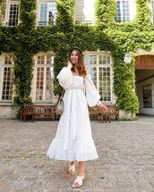 dress,white dress,maxi dress,off the shoulder,slide shoes,bag