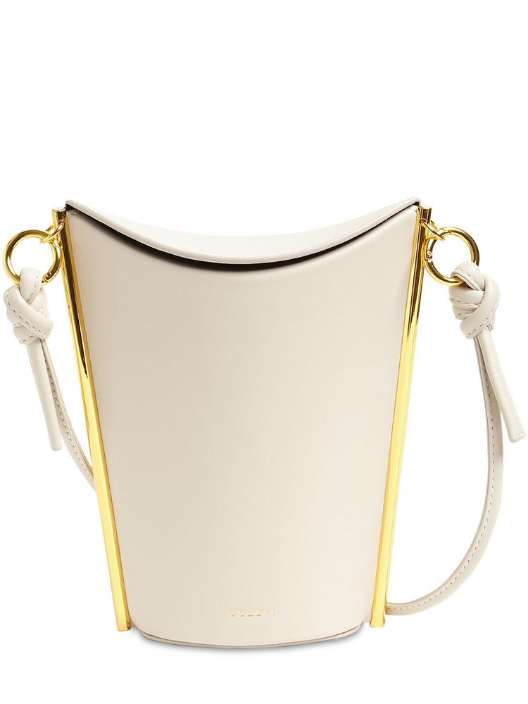 YUZEFI Pitta Leather Shoulder Bag in white