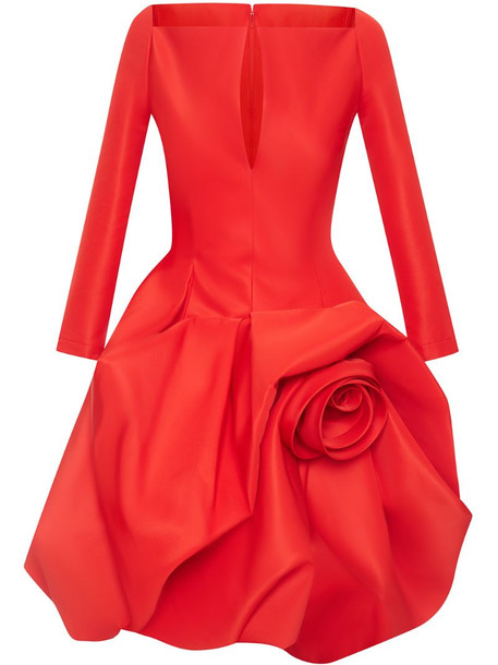 Oscar de la Renta floral long-sleeve puffball dress in red