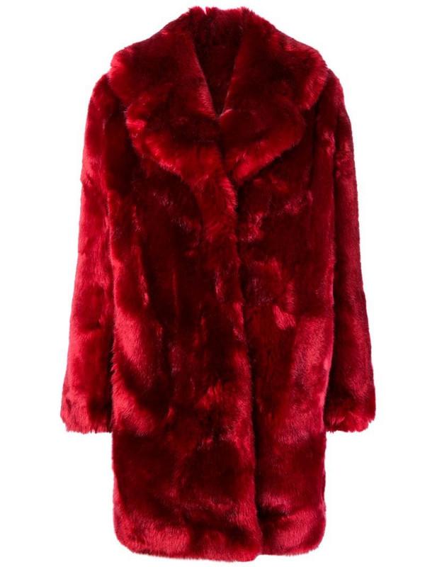 La Seine & Moi Louve faux fur coat in red