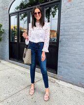top,white top,blouse,jeans,denim,blue jeans,shoes