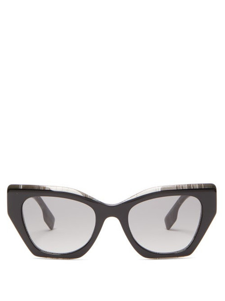 Burberry - House Check Square Cat-eye Acetate Sunglasses - Womens - Black Print