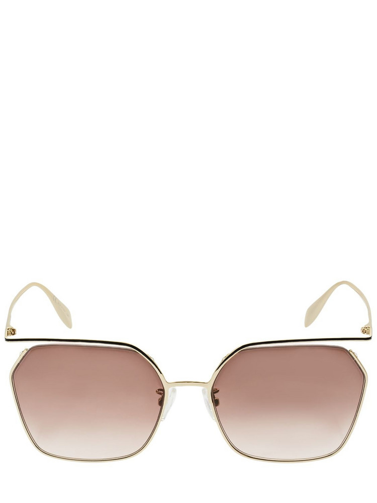 ALEXANDER MCQUEEN The Cut Squared Metal Sunglasses in brown / gold