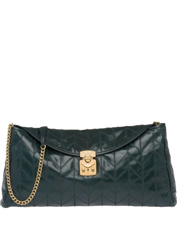 Miu Miu patchwork motif clutch bag in green