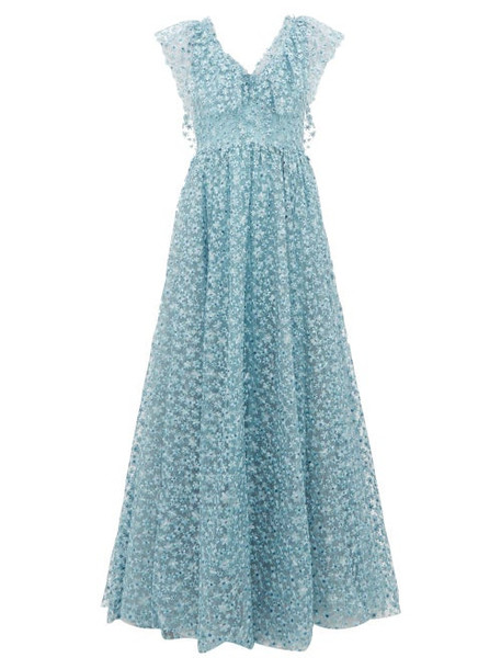 Luisa Beccaria - Floral Embroidered Tulle Gown - Womens - Light Blue