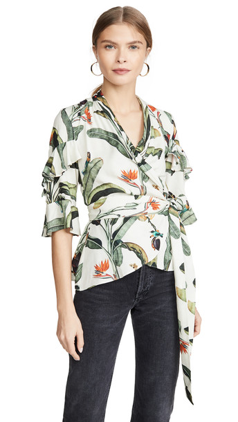 PatBO Tropical Print Wrap Top