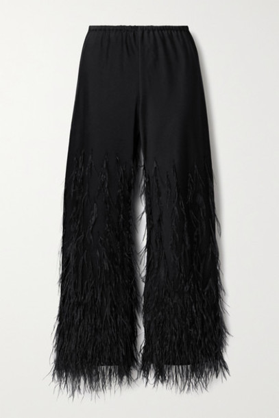 Cult Gaia - Karis Feather-embellished Satin-crepe Straight-leg Pants - Black