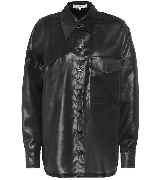 Tibi Liquid Drape shirt in black