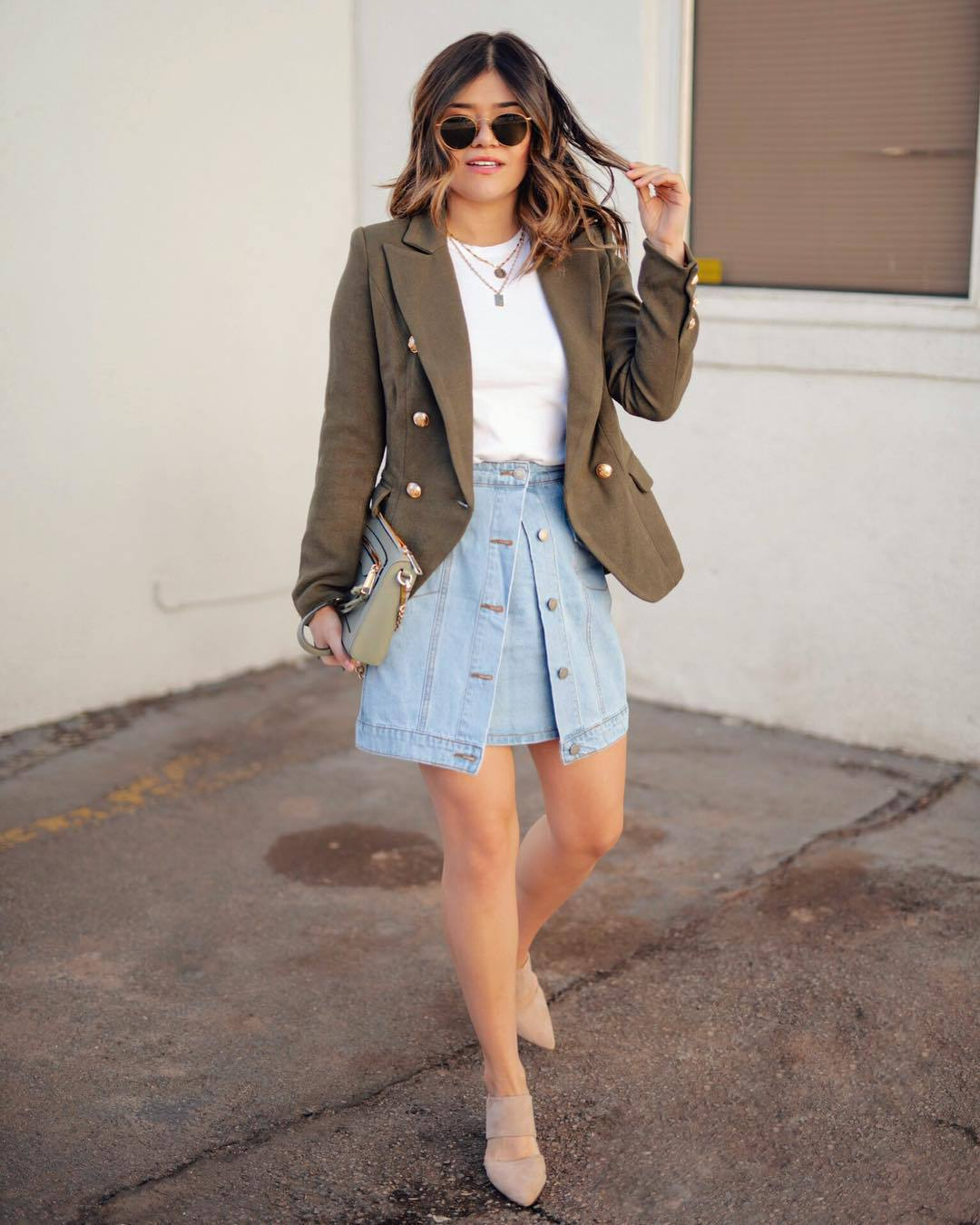 jacket army green jacket double breasted mules denim skirt mini skirt white t-shirt bag