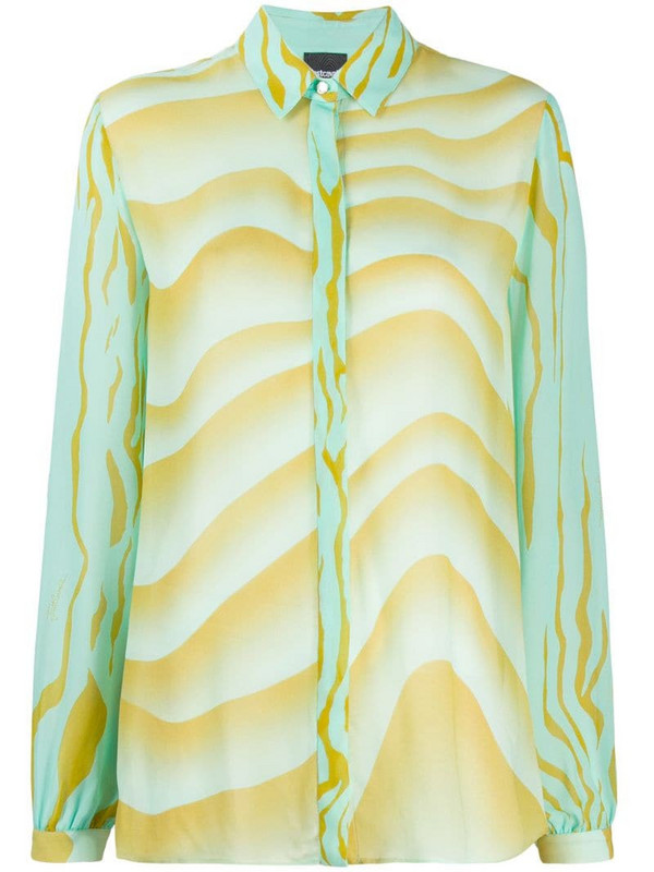 Just Cavalli wave-print loose-fit shirt in green