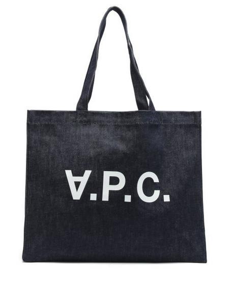A.P.C. A.P.C. - Logo-print Denim Tote Bag - Womens - Indigo