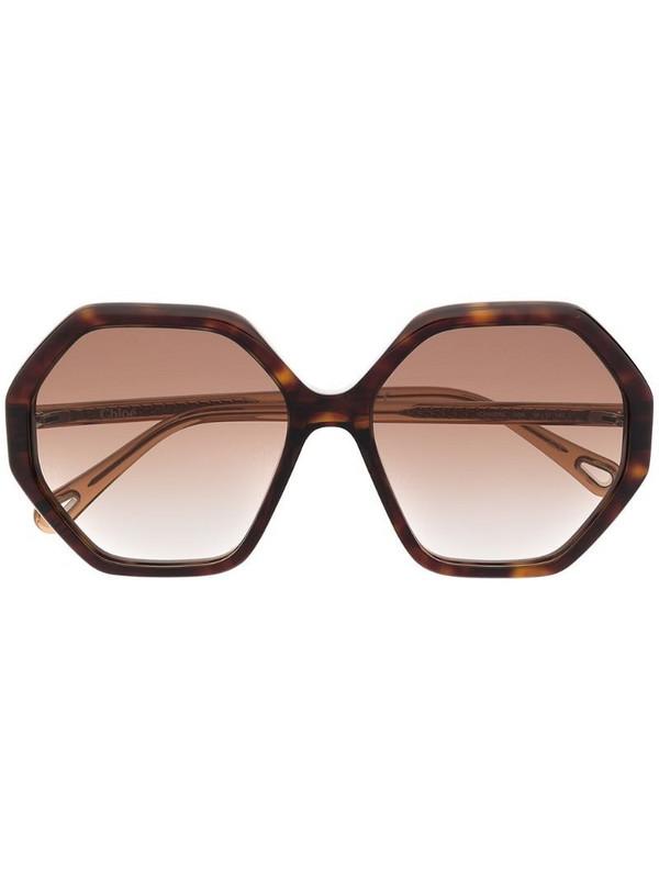 Chloé Eyewear tortoiseshell-effect sunglasses in brown