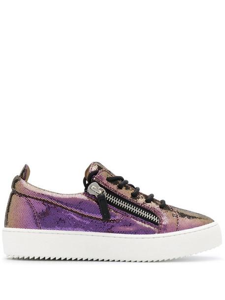 Giuseppe Zanotti metallic platform sole sneakers in purple